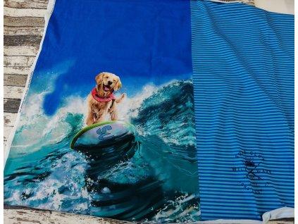 Panel panoramatický - surfující pes