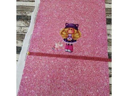 Panel - vlasatá holčička a jednorožec na růžové