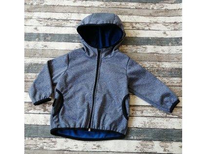 Softshellová bunda Yháček NEW, zimní, tmavě modrý melír