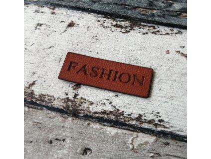 Štítek Fashion, hnědý nápis