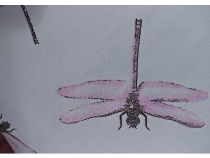 UV Teplákovina, vážky růžové na bílé