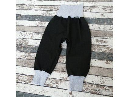 Softshellové kalhoty Yháček, podzim, černá/šedé melé