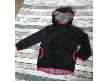 Softshellová bunda Yháček NEW, podzim, černá/růžová