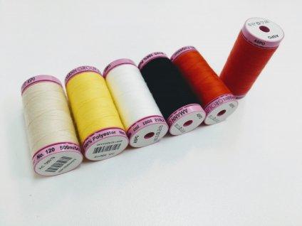 Nitě Aspo 500 m různé barvy (Barvy žlutá, 0113)