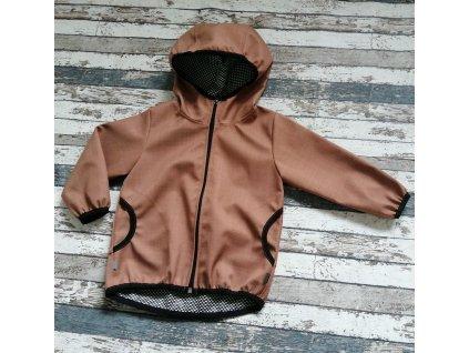Softshellová bunda Yháček NEW, podzim, karamelová/černá