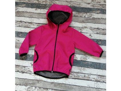 Softshellová bunda Yháček NEW, podzim, fuchsiová/černá