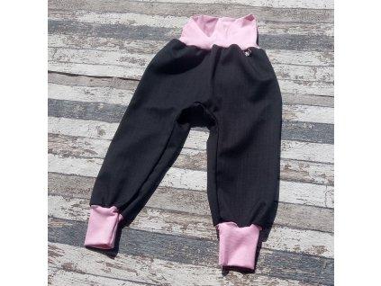 Softshellové kalhoty Yháček, podzim, černá/světle růžová