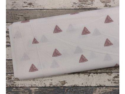 Plátno, trojúhelníky starorůžové na bílé