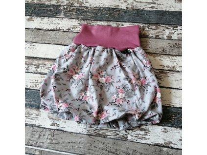 Balónová sukně Yháček, růžičky na šedé