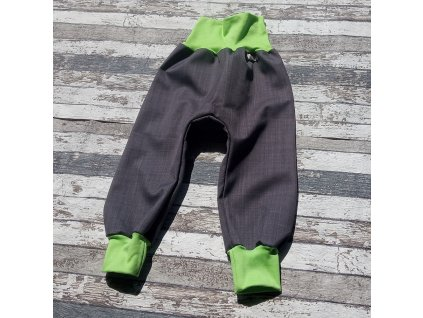 Softshellové kalhoty Yháček, podzim, šedá/zelená