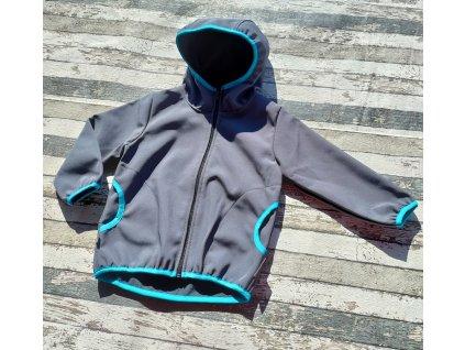 Softshellová bunda Yháček NEW, zimní, šedá/tyrkysová
