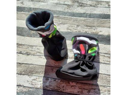 Nosicí botičky - válenky Yháček, barevný maskáč/černá, L