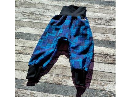 Zimní softshellové kalhoty Yháček, stavebnice modrá