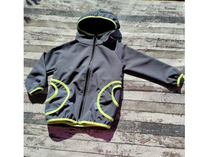 Softshellová bunda Yháček, zimní, šedá/neonově žlutá, 104