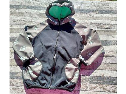 Softshellová bunda Yháček, zimní, hvězdy na mentolové, 128
