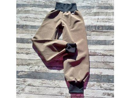 Softshellové kalhoty Yháček, zimní, žíhané, světlejší hnědá, 128