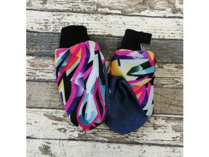 Softshellové rukavice, graffiti/melír, M