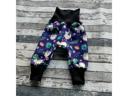 Zimní softshellové kalhoty Yháček, lenochodi na modré