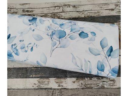 Teplákovina ORGANICKÁ BAVLNA, Modré květy v mlze