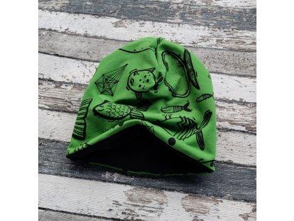 Šmoulí čepička Yháček, oboustranná, ryby na zelené