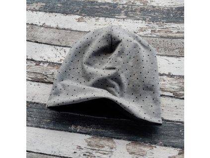 Šmoulí čepička Yháček, oboustranná, puntík rozsypaný na šedé