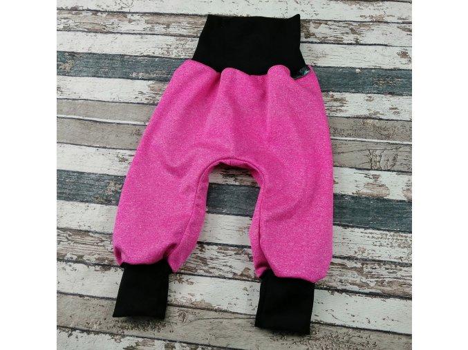 Softshellové kalhoty Yháček, letní, růžový melír/černá