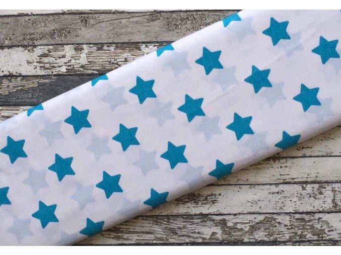 Plátno, hvězdy zaoblené tyrkysové