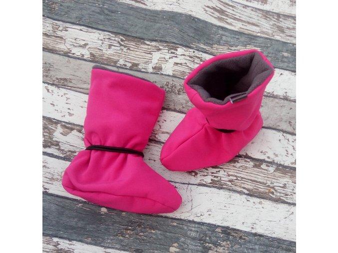 Nosicí botičky - válenky Yháček, flís, fuchsiové