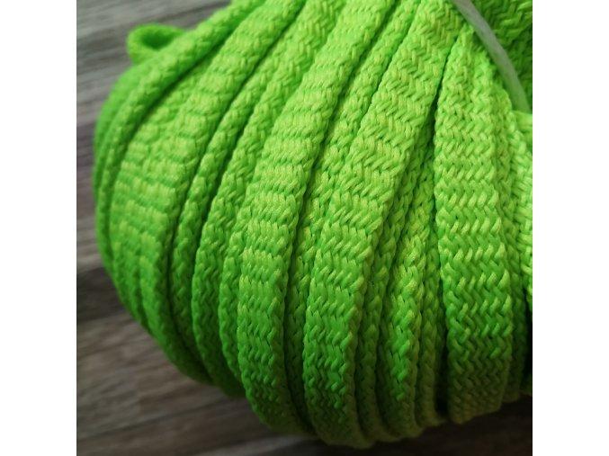 Šňůra plochá, neon zelená, 8 mm