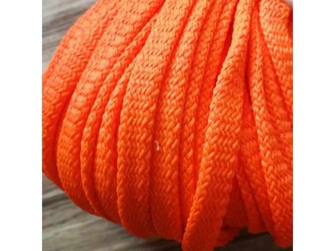 Šňůra plochá, neon oranžová, 8 mm