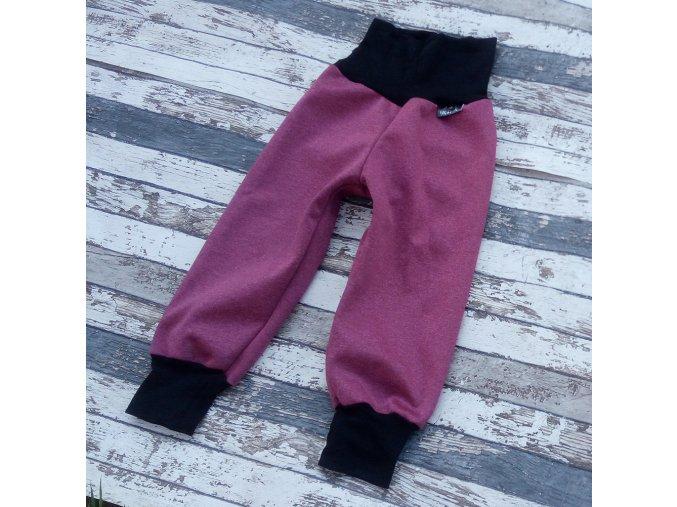 Softshellové kalhoty Yháček, zimní, vínový melír/černá