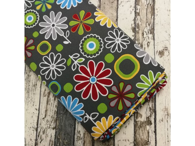 Kočárkovina, barevné květy na šedé