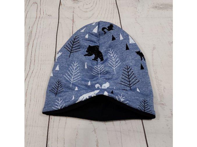 Šmoulí čepička Yháček, oboustranná, lesní zvěř na modrém melíru, flís