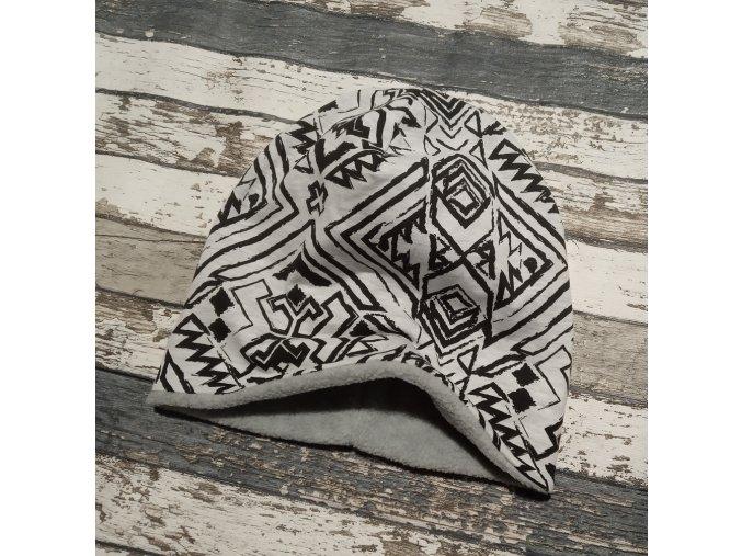 Šmoulí čepička Yháček, oboustranná, Aztécký vzor, flís