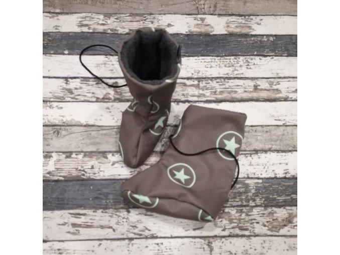 Nosicí botičky - válenky Yháček, flís, hvězdy v kolečku mentolové