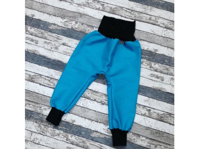 Softshellové kalhoty Yháček, podzim, mentolově modrá/černá