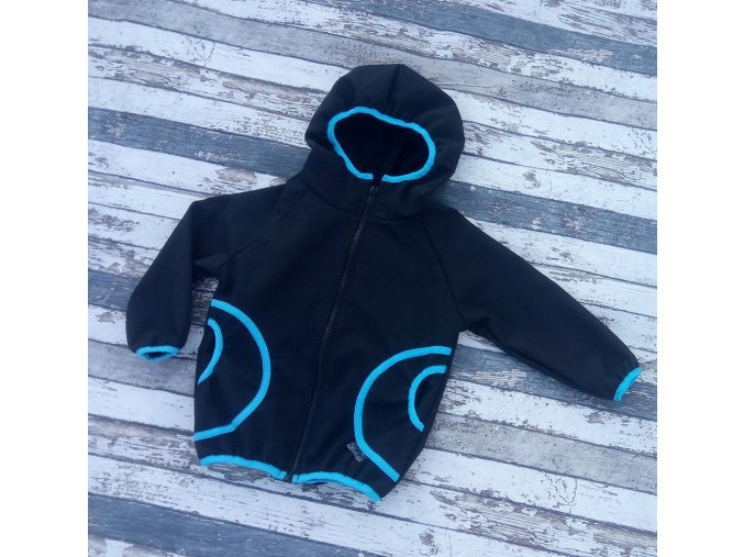 Softshellová bunda Yháček, zimní, černá/tyrkys