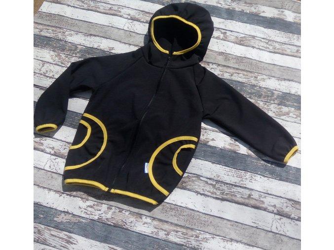 Softshellová bunda Yháček, zimní, černá/hořčicová