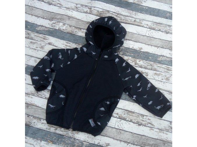 Softshellová bunda Yháček, zimní, dinosauři na černé