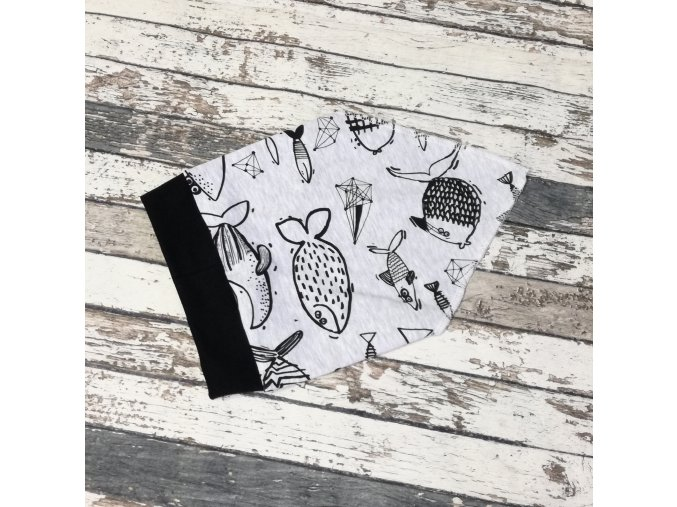Šátek na hlavu Yháček, Ryby na šedém melíru