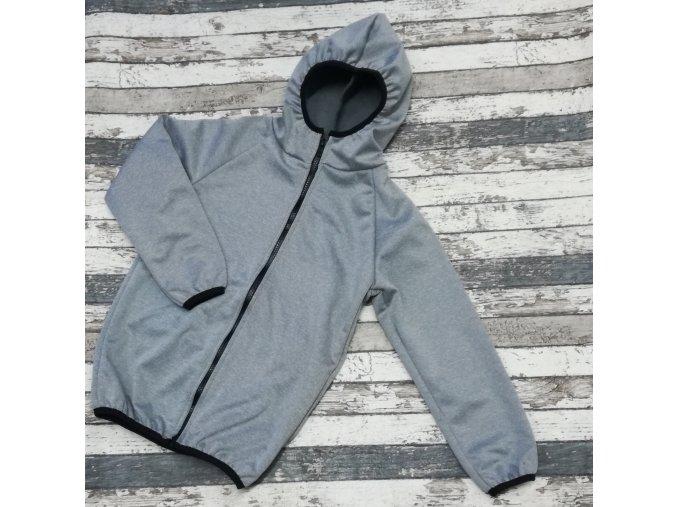 Softshellová bunda Yháček, zimní, světle šedý melír, bez kapes