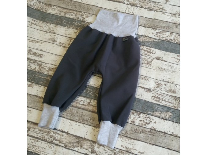 Softshellové kalhoty Yháček, zimní, černá/šedé melé