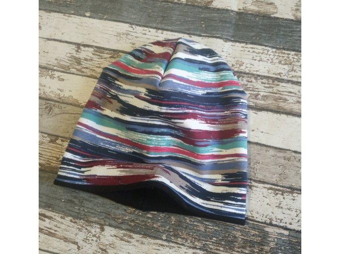 Šmoulí čepička Yháček, oboustranná, nepravidelné barevné pruhy