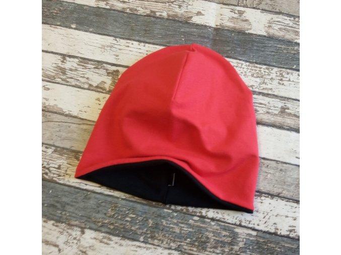 Šmoulí čepička Yháček, oboustranná, černá/červená