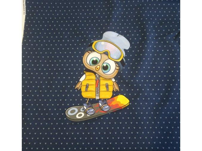 Panel - teplákovina, sovička snowboardista na navy