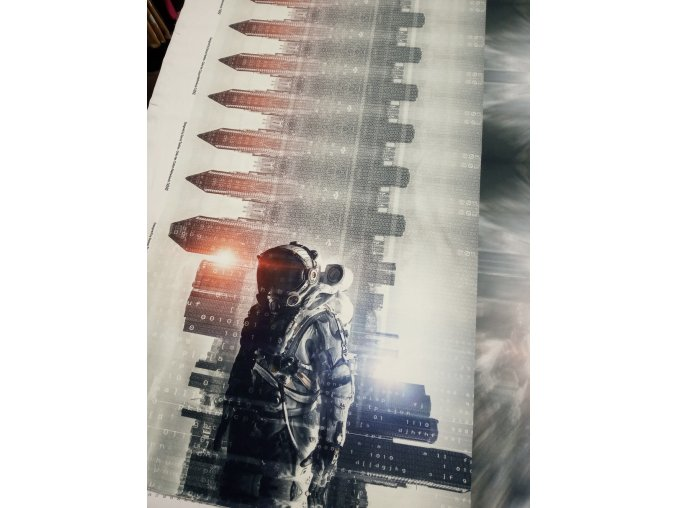Panel - teplákovina, kosmonaut a slunce