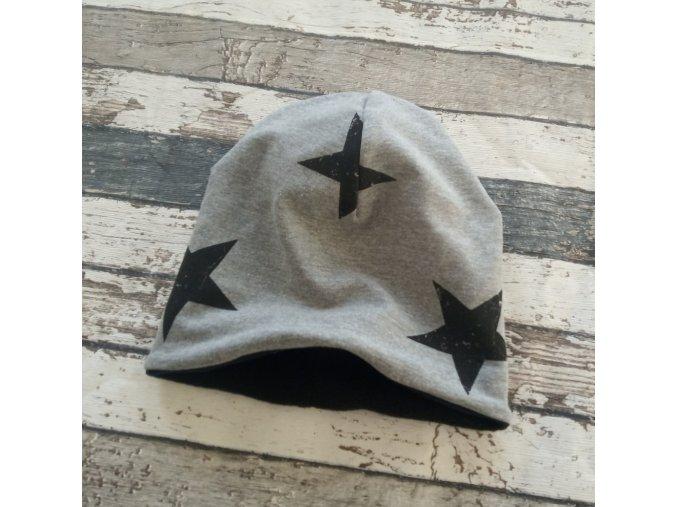 Šmoulí čepička Yháček, oboustranná, Hvězdy na tmavě šedém melíru, flís