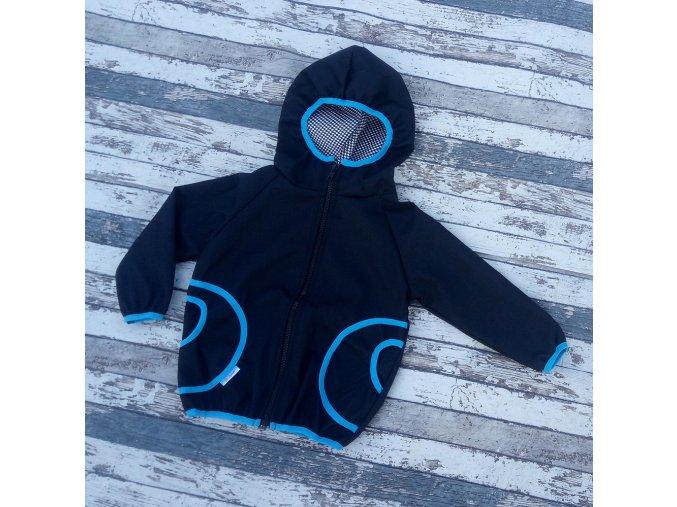 Softshellová bunda Yháček, podzim, černá/tyrkys
