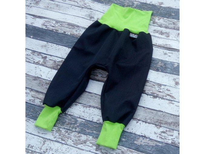 Softshellové kalhoty Yháček, podzim, černá/zelená