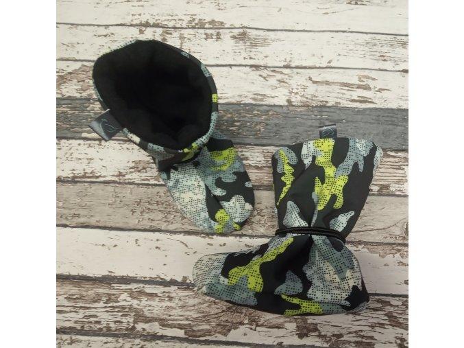 Nosicí botičky - válenky Yháček, černý flís, maskáč šedozelený
